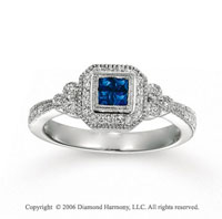 14k White Gold Milgrain Princess Blue Sapphire Diamond Ring