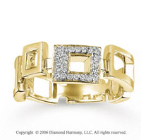 14k Yellow Gold Skipping Squares 1/6 Carat Diamond Ring