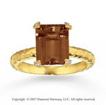 14k Yellow Gold Prong Diamond Smoky Quartz Fashion Ring