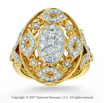14k Yellow Gold Filigree 0.70 Carat Diamond Fashion Ring