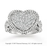 14k White Gold Heart 0.80 Carat Diamond Fashion Ring