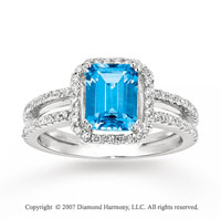 14k White Gold 0.40 Carat Diamond Blue Topaz Fashion Ring