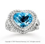 14k White Gold Heart 0.40 Carat Sky Blue Topaz Fashion Ring