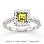 14k White Gold Princess Peridot 1/6 Carat Diamond Ring