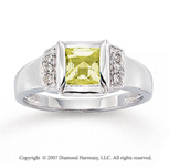 14k White Gold Channel Princess Peridot Pave Diamond Ring