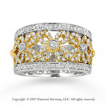 14k Two Tone Gold Floral 0.70 Carat Diamond Fashion Ring