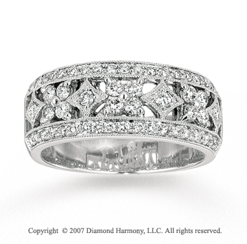 14k White Gold Flower 1/3 Carat Diamond Stackable Ring