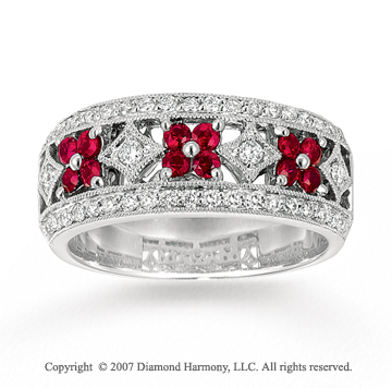 14k White Gold Flower 1/3 Carat Diamond Ruby Stackable Ring