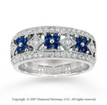 14k White Gold Flower 1/3 Carat Diamond Sapphire Stackable Ring