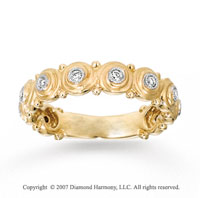 14k Yellow Gold Bezel 1/6 Carat Diamond Stackable Ring