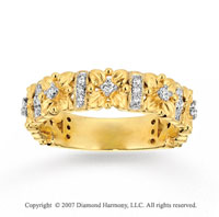 14k Yellow Gold Floral 1/4 Carat Diamond Stackable Ring
