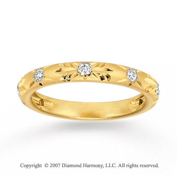 14k Yellow Gold Carved 0.20 Carat Diamond Stackable Ring