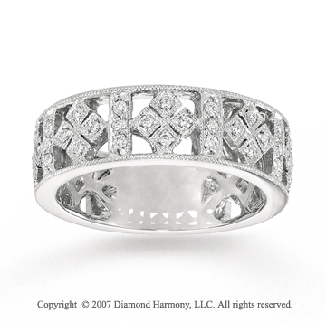 14k White Gold Filigree 0.30 Carat Diamond Stackable Ring