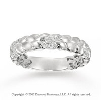 14k White Gold Leaf 1/6 Carat Diamond Stackable Ring
