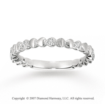 14k White Gold Heart 0.10 Carat Diamond Stackable Ring