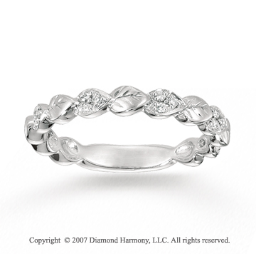14k White Gold Carved Leaf 0.10 Carat Diamond Stackable Ring