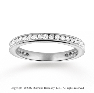 14k White Gold Milgrain 1/2 Carat Diamond Stackable Ring