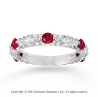 14k White Gold Leaf Prong Diamond Ruby Stackable Ring