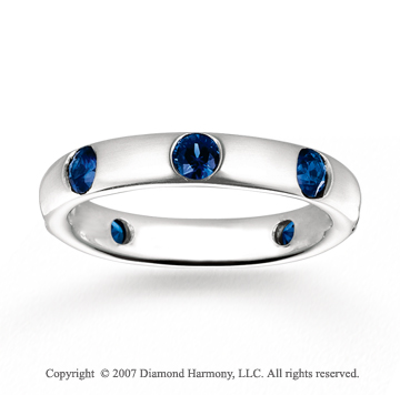14k White Gold Bezel Blue Sapphire Stackable Ring