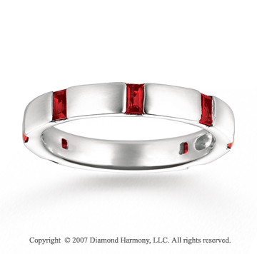 14k White Gold Baguette Channel Ruby Stackable Ring