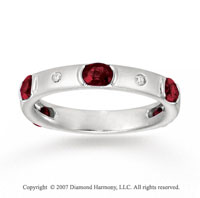 14k White Gold Bezel Channel Diamond Ruby Stackable Ring