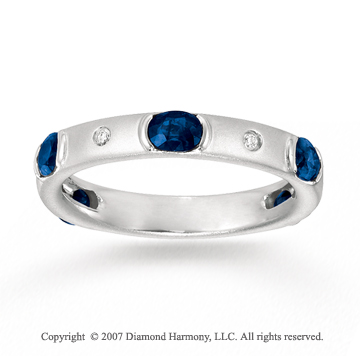 14k White Gold Diamond Blue Sapphire Stackable Ring