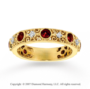 14k Yellow Gold 0.10 Carat Diamond Garnet Stackable Ring