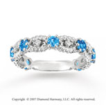 14k White Gold Prong Diamond Blue Topaz Stackable Ring