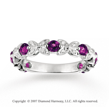 14k White Gold 1/6 Carat Diamond Amethyst Stackable Ring