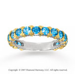 14k Two Tone Gold Prong Round Blue Topaz Stackable Ring
