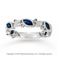 14k White Gold 0.10 Carat Diamond Sapphire Stackable Ring