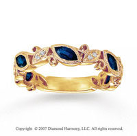 14k Yellow Gold 0.10 Carat Diamond Sapphire Stackable Ring