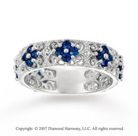 14k White Gold Flower Diamond Sapphire Stackable Ring