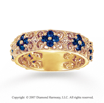14k Yellow Gold Flower Diamond Sapphire Stackable Ring