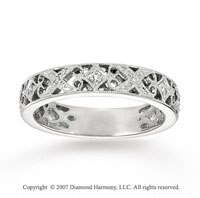 14k White Gold Filigree 0.10 Carat Diamond Stackable Ring