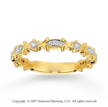 14k Yellow Gold Stylish 1/6 Carat Diamond Stackable Ring