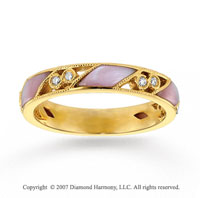 14k Yellow Gold Diamond Mother of Pearl Stackable Ring