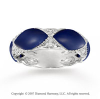 14k White Gold Diamond Marquise Lapis Stackable Ring