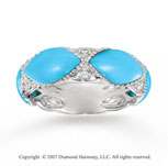 14k White Gold Diamond Marquise Turquoise Stackable Ring