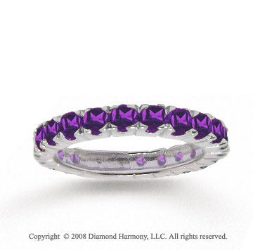 14k White Gold Round Prong Amethyst Stackable Ring