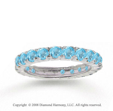 14k White Gold Stylish Round Blue Topaz Stackable Ring