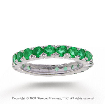 14k White Gold Stylish Round Prong Emerald Stackable Ring