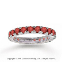 14k W Stylish Gold Round Prong Garnet Stackable Ring