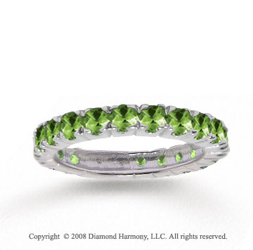 14k White Gold Stylish Round Prong Peridot Stackable Ring