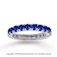 14k White Gold Round Prong Blue Sapphire Stackable Ring