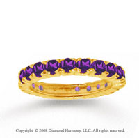 14k Yellow Gold Prong Round Amethyst Stackable Ring