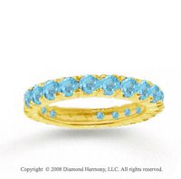 14k Yellow Gold Prong Blue Topaz Stackable Ring