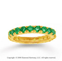 14k Yellow Gold Prong Round Emerald Stackable Ring