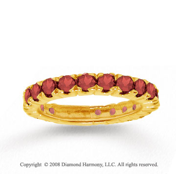 14k Yellow Gold Prong Round Red Garnet Stackable Ring