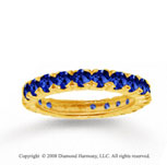 14k Yellow Gold Prong Blue Sapphire Stackable Ring